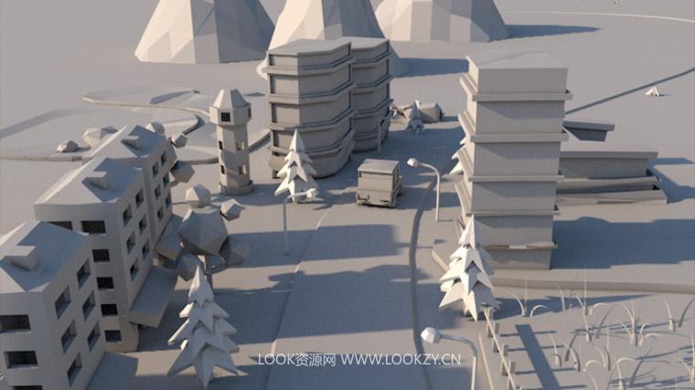 C4D教程-C4D折纸城市生长动画中文教程