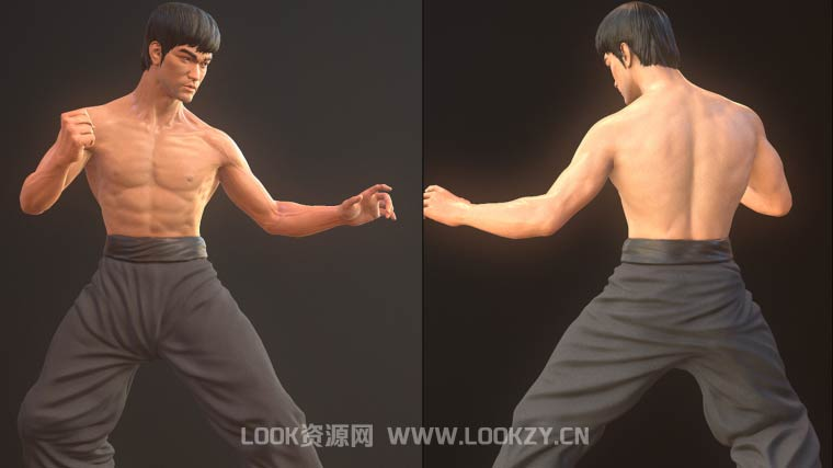 3D模型-李小龙3D模型下载(格式支持MAX/OBJ/FBX)Bruce Lee Dragon Fighter