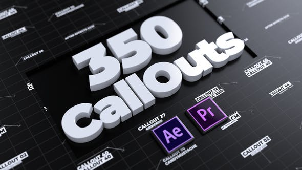 AE模板/PR预设-350组科技感线条指示文字标题HUD介绍展示动画