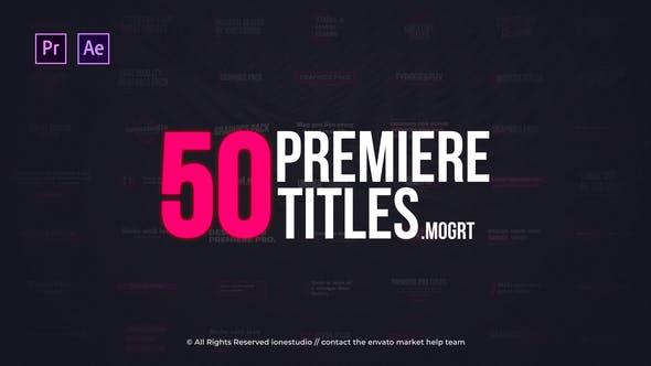 AE模板/PR预设-50种现代简洁文字标题动画 Modern Minimal Titles 免费下载