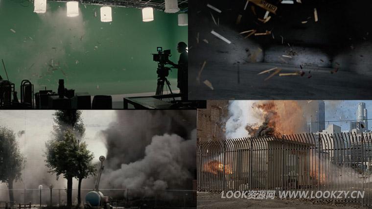 视频素材-80组石头砖块木头碎片坍塌破碎绿幕背景4K特效合成视频素材