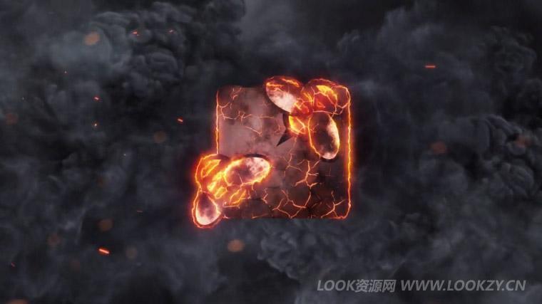 AE模板-火焰烟雾飘散浓烟火花LOGO片头揭示模板 免费下载