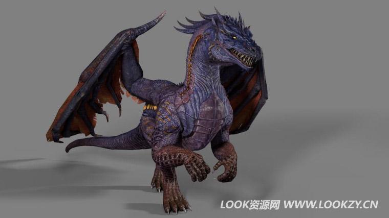 C4D模型-长翅膀的魔龙恐龙动画模型 含绑定动画