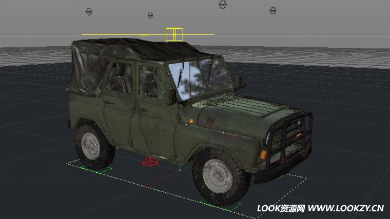 C4D模型-绝地求生刺激战场吉普车C4D模型XP表达式绑定工程文件