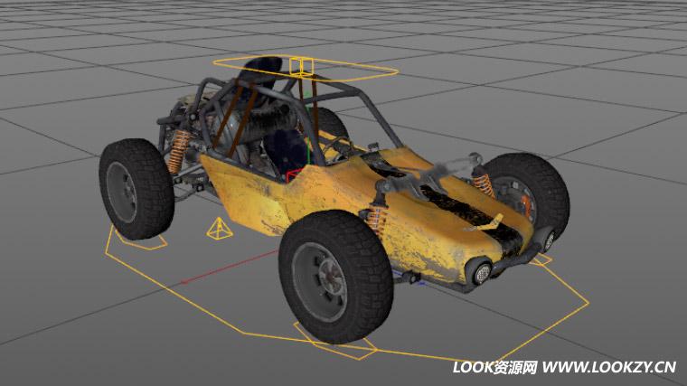 C4D模型-绝地求生刺激战场吃鸡战车C4D跑车模型 含绑定