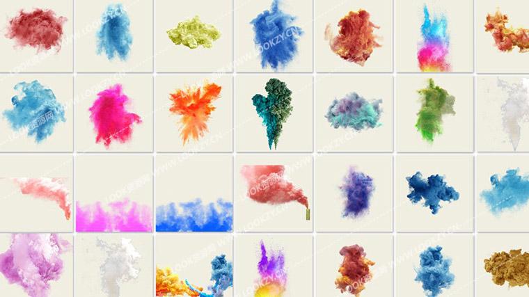 平面素材-160个PNG彩色烟雾PS叠加合成图片素材资源