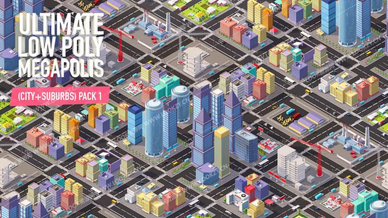 C4D模型-Low Poly风格卡通城市建筑群工程模型下载 含材质贴图