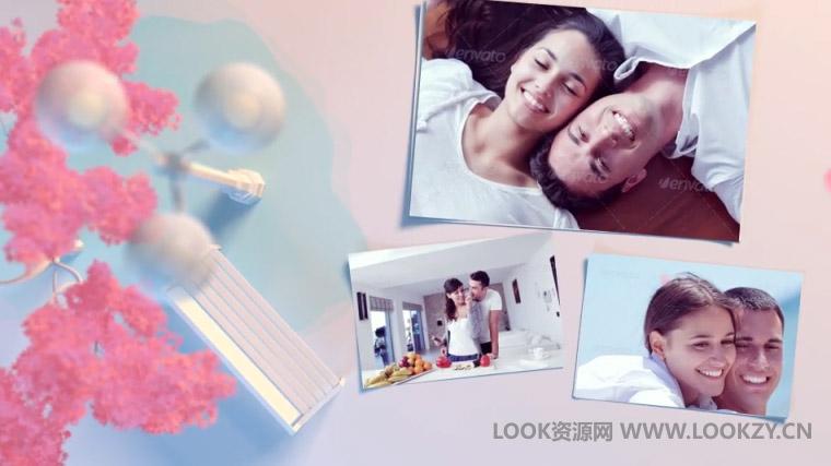 AE模板-清新浪漫婚礼电子相册照片片头开场模板
