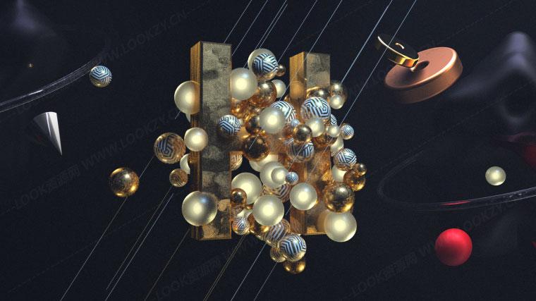 C4D工程-Octane渲染器小球文字场景动画OC渲染工程文件