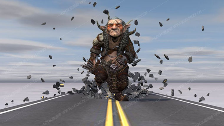 C4D教程-人物奔跑地面破碎VFX特效C4D制作教程