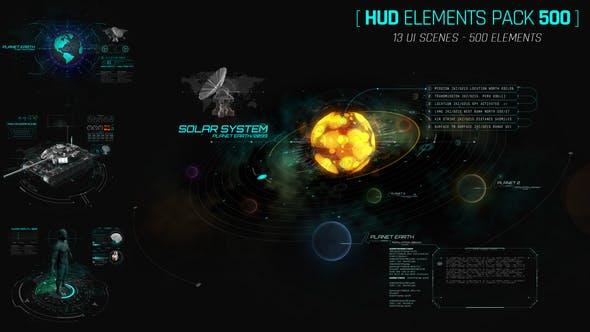 AE模板-500个HUD科技感银河系军事雷达屏幕特效动态UI元素包模板