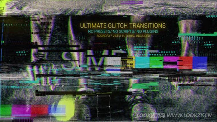 AE模板-信号失真色彩分离信号损坏视频转场AE模板 Glitch Transitions