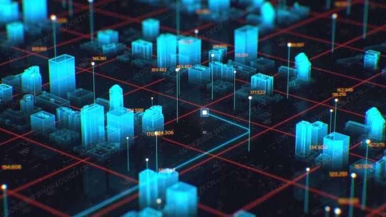C4D教程-C4D/AE制作全息科幻三维城市场景包装动画教程