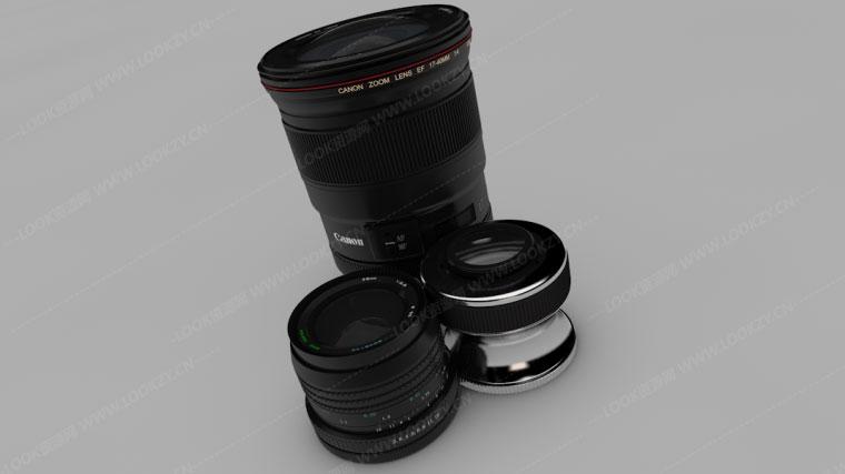 C4D模型-佳能单反相机镜头C4D模型工程 含材质贴图