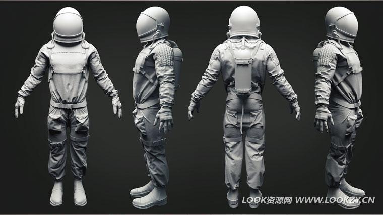 3D模型-太空宇航员三维模型 OBJ MTL 免费下载