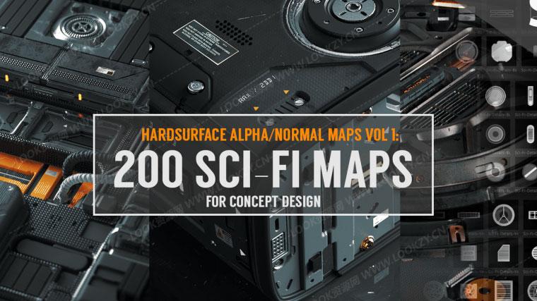 材质贴图-科幻风格硬面法线贴图预设 Hard Surface Alpha & Normal Maps Vol.1: 200 Sci-fi Maps