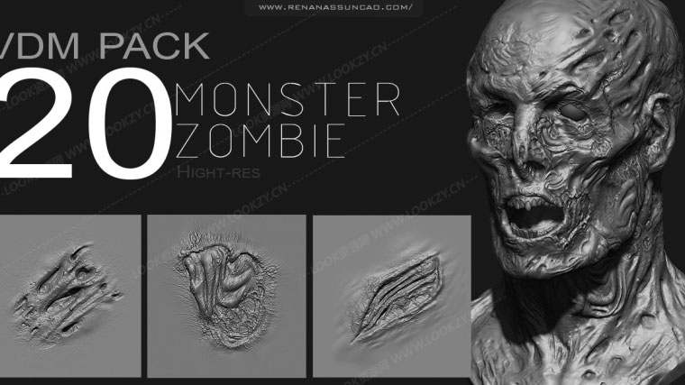Zbrush丧尸怪物皮肤笔刷预设 Zbrush Zombie Monster VDM Pack