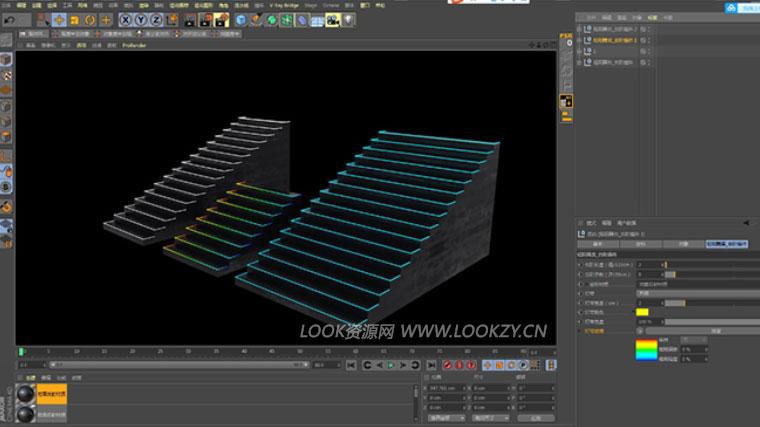 C4D预设-C4D台阶快速生成制作预设工程插件