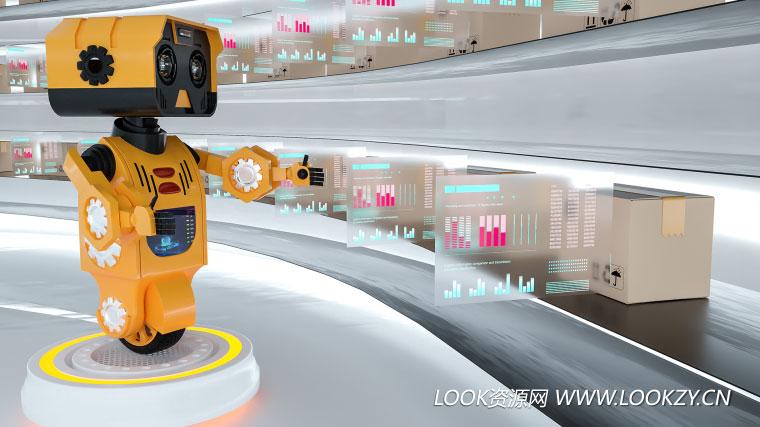 C4D工程-智能物流机器人OC渲染场景模型静帧工程