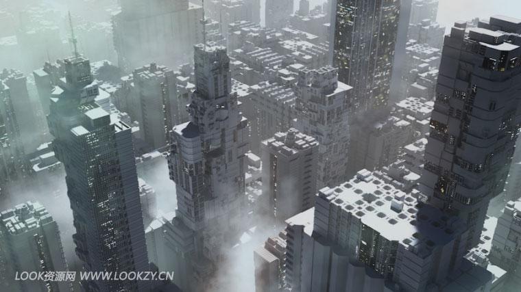3D模型-未来科幻建筑楼房城市FBX模型  免费下载