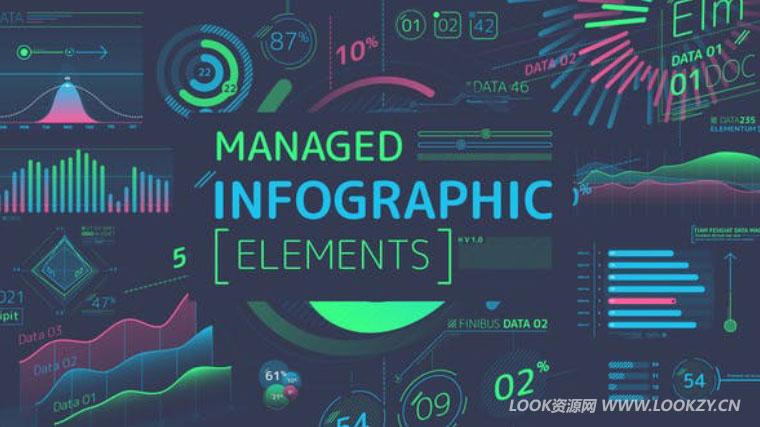 AE模板-信息数据图表统计UI柱状图动画包AE模板