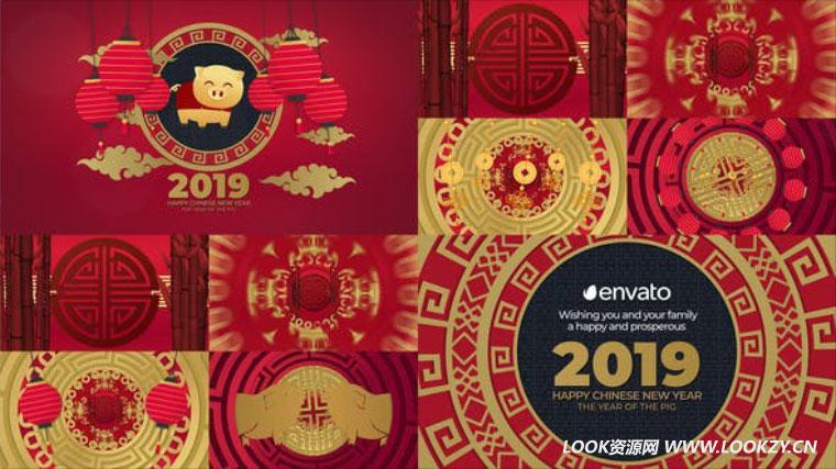 AE模板-新年春节喜庆中国风动画片头模板 Chinese New Year 2019