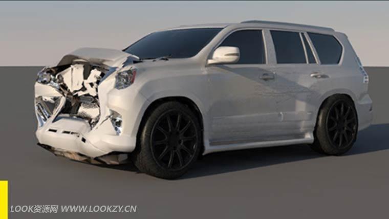 C4D教程-汽车碰撞追尾变形特效物理模拟教程