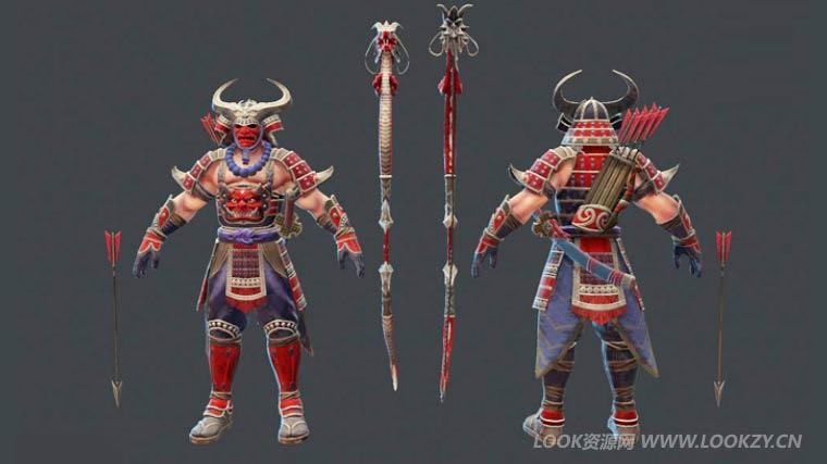 C4D模型-MOBA 神之浩劫 鬼武士弓手3D角色模型