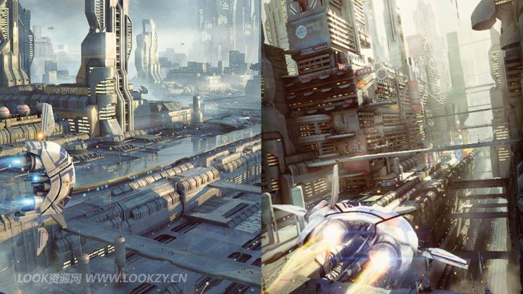 C4D预设-20个外星科幻街区场景模型预设 greeble city blocks vol 02