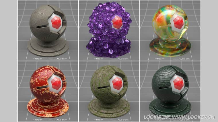 C4D预设-6个C4D Redshift材质球预设 C4D Redshift Material Texture Sampler Pack 2