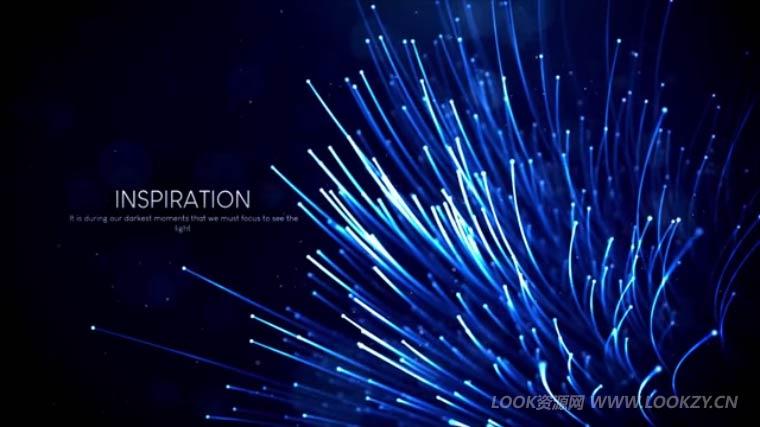 AE模板-漂亮粒子光线发射生长文字标志展示开场模板