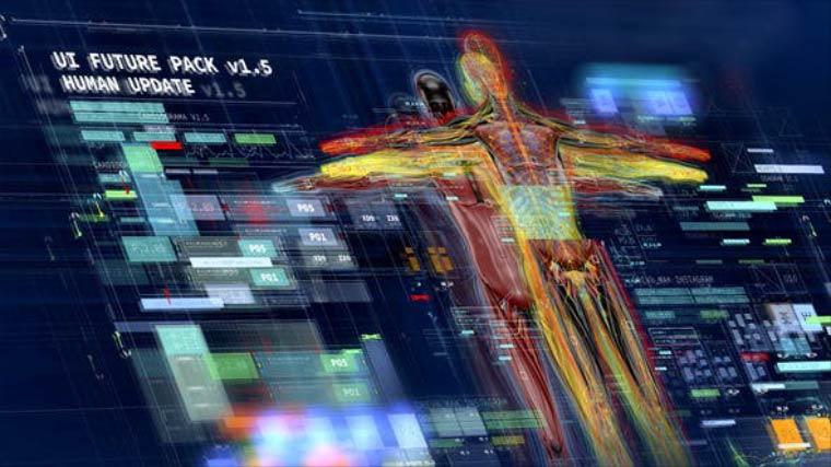 AE模板-科技感HUD军事医学人体信息化数据UI界面动画元素模板