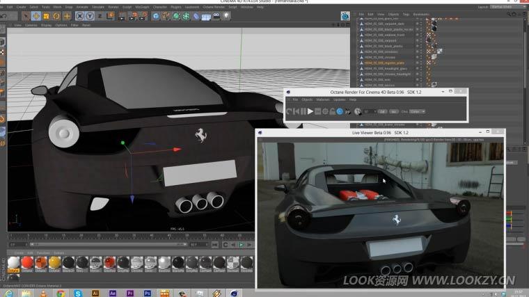 C4D教程-用Octane渲染器制作法拉汽车跑车材质渲染教程