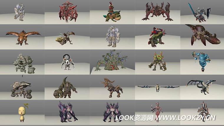 C4D模型-人物游戏模型合集含动画骨骼绑定材质