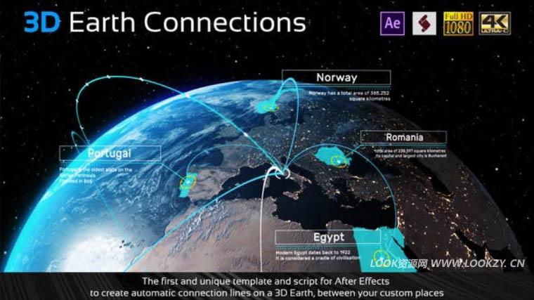 AE模板-科技感网络世界三维地球地图点连线动画模板(含脚本和使用教程)