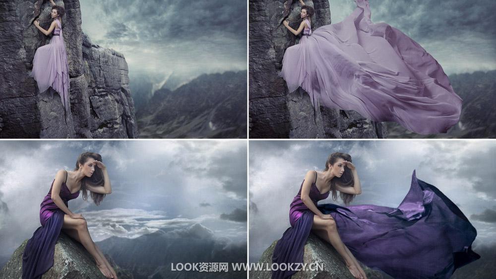 平面素材-100张婚纱裙摆飘动效果PNG超清透明图片素材下载