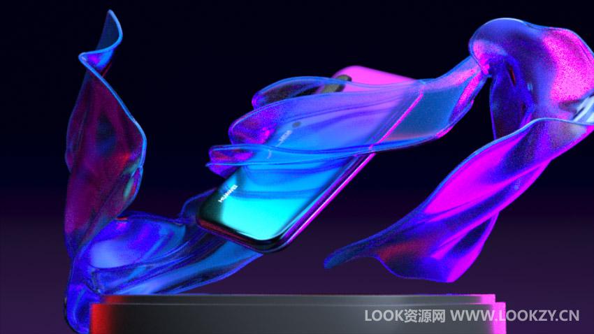 C4D工程-华为手机动画模型工程 含贴图材质动画