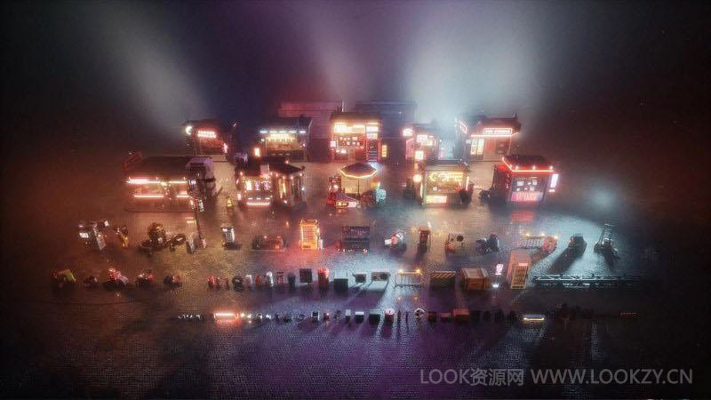 3D模型-赛博朋克未来科幻街道楼房3D模型 (MAX/OBJ/FBX/MTL格式)